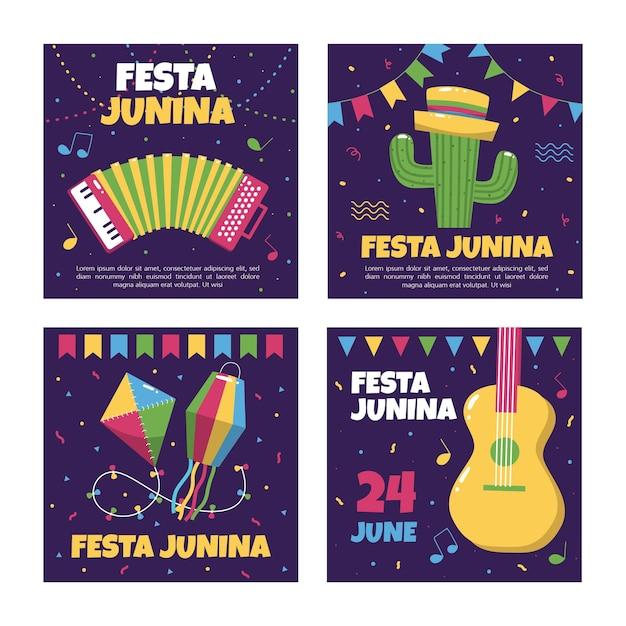 Коллекция шаблонов карт festa junina Бесплатные векторы