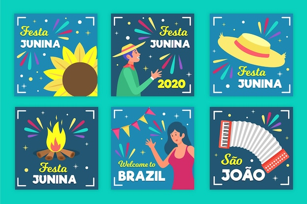 Феста junina шаблон карты тема Бесплатные векторы