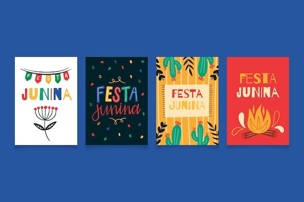 Festa junina card template Free Vector