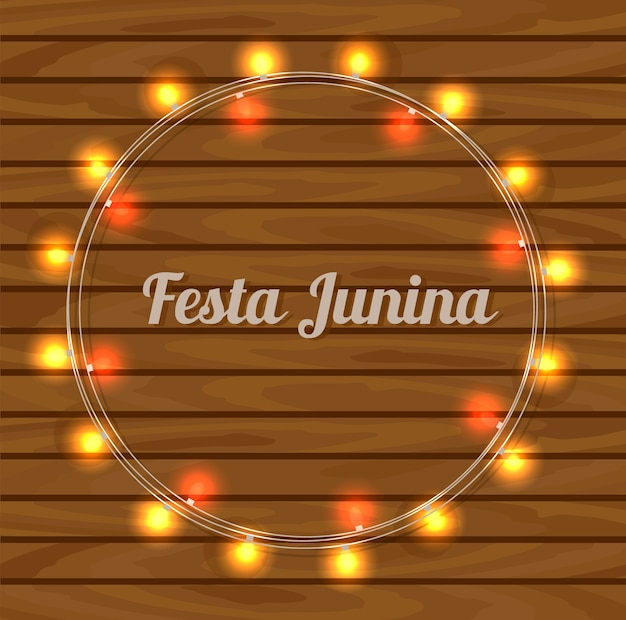 Festa junina card on wooden background. Premium Vector