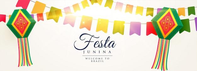 Festa junina celebration background design Free Vector