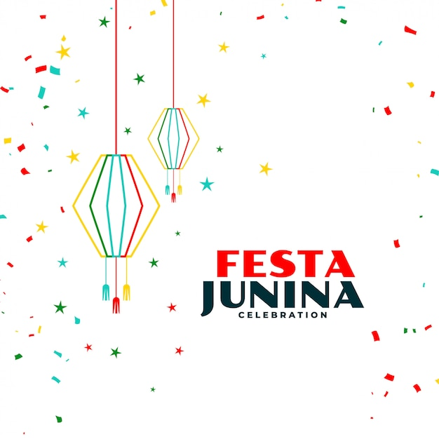 Festa junina celebration background with falling confetti Free Vector