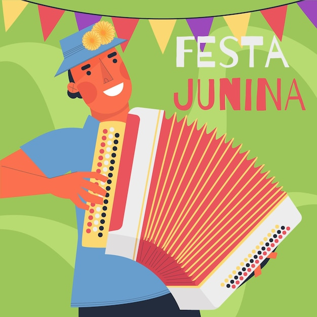 Festa junina celebration flat design Free Vector