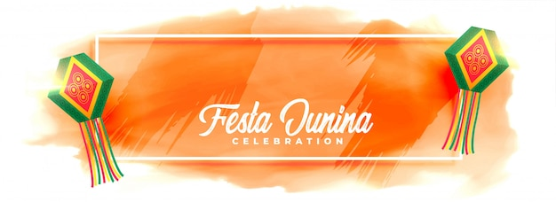 Festa junina celebration lamps watercolor banner Free Vector