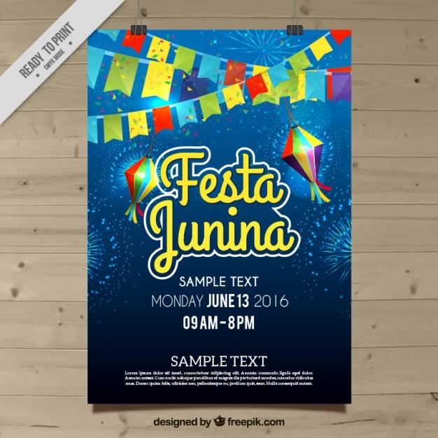 Festa junina celebration poster Free Vector