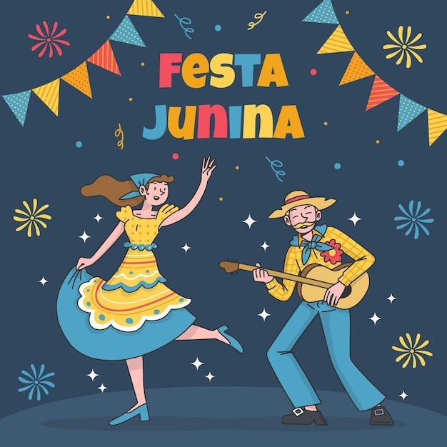 Festa junina celebration Free Vector