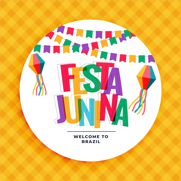 Festa junina colorful background with garlands Free Vector