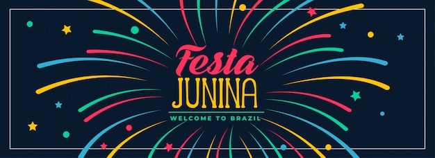 Festa junina colors banner design Free Vector