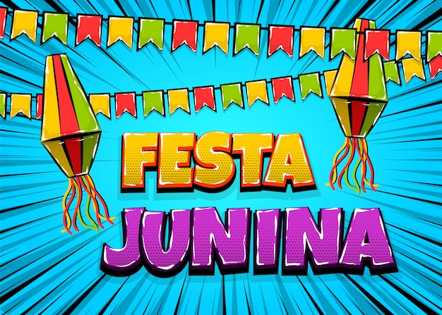 Festa junina comic text pop art carnival Premium Vector
