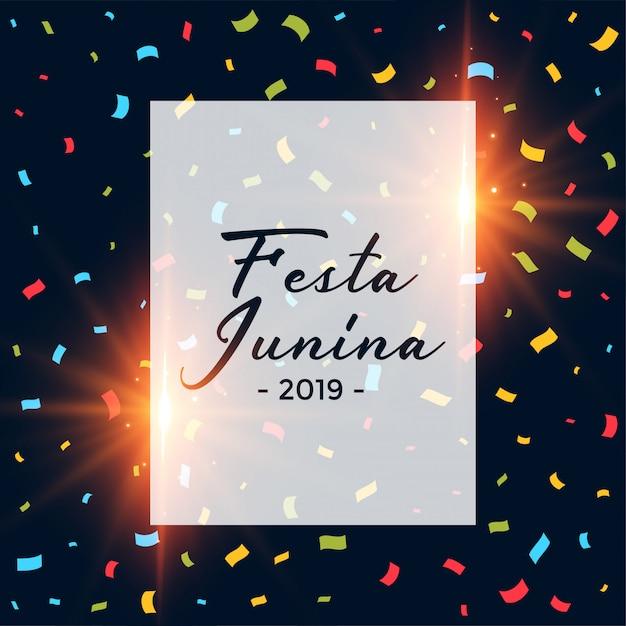 Festa junina confetti dark background Free Vector
