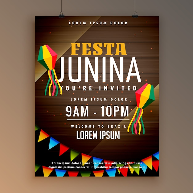 Festa junina dark wooden background poster Free Vector