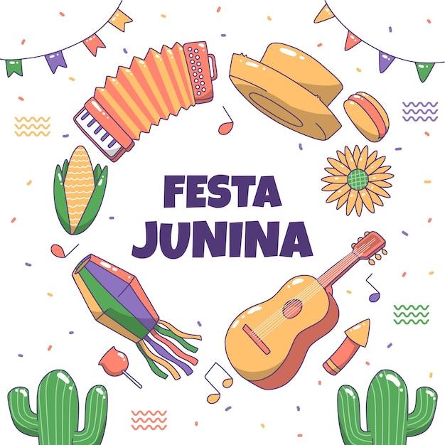 Festa junina drawing Free Vector