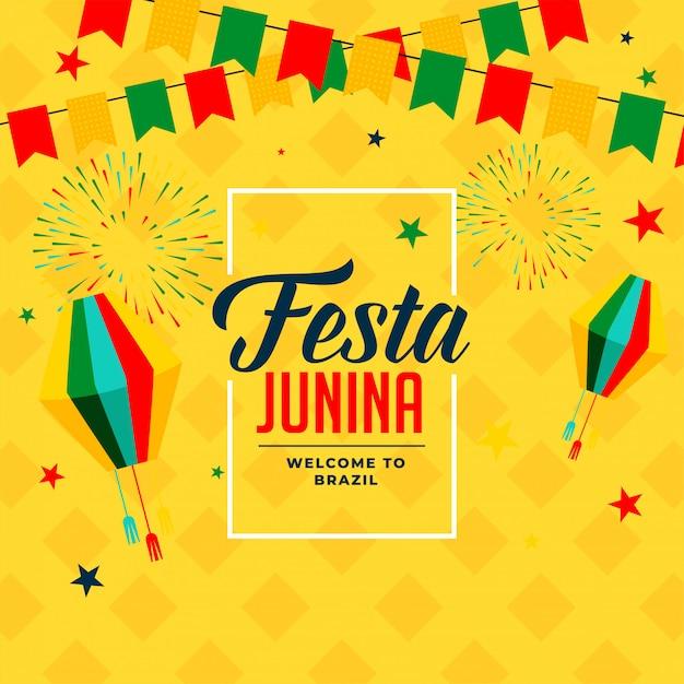 Феста junina событие праздник плакат фон Бесплатные векторы