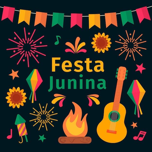 Festa junina тема празднования Бесплатные векторы