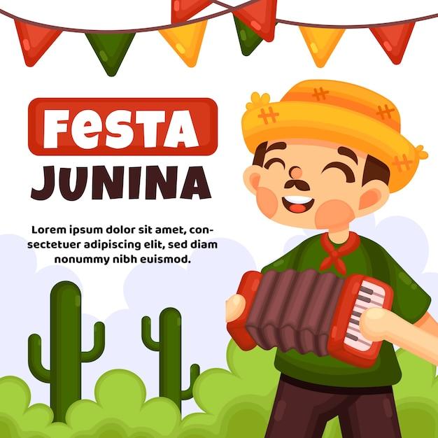 Festa junina event flat design Free Vector