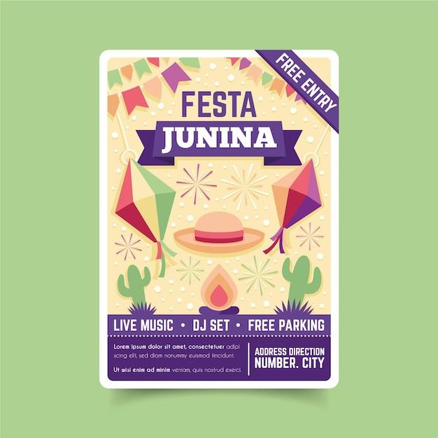 Шаблон флаера событий festa junina Бесплатные векторы