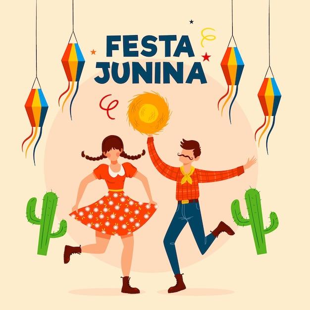 Festa junina event hand drawn Free Vector