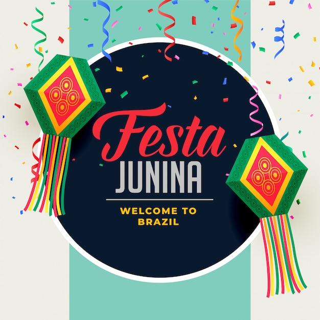 Festa junina festival background with decorative elements Free Vector