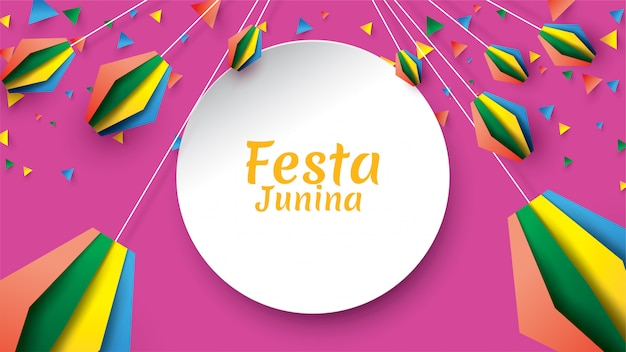 Festa junina festival design on paper art and flat style with party flags and paper lantern Premium Vector