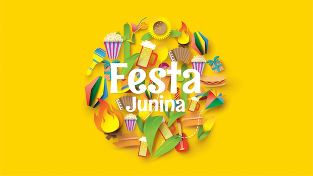Festa junina festival design on paper art and flat style with party flags and paper lantern. Premium Vector