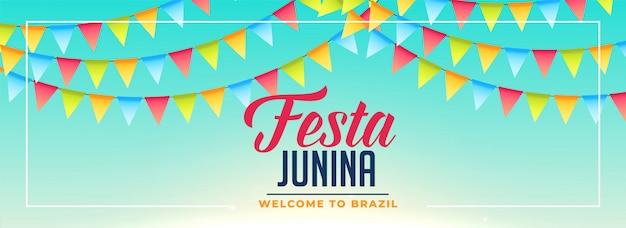 Festa junina flags decoration banner design Free Vector