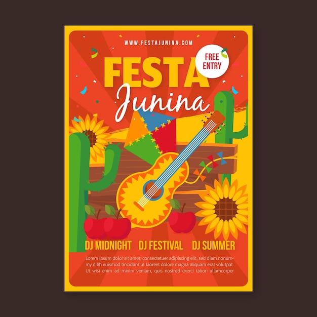 Шаблон плаката festa junina плоский дизайн Бесплатные векторы