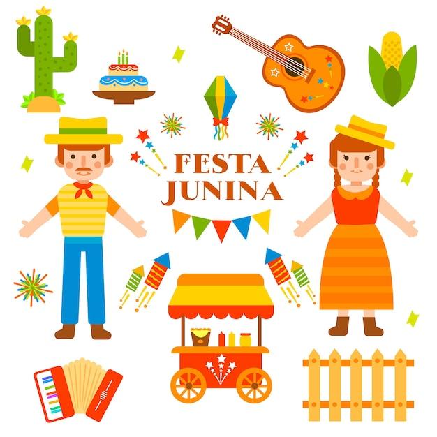 Festa junina in flat design Free Vector