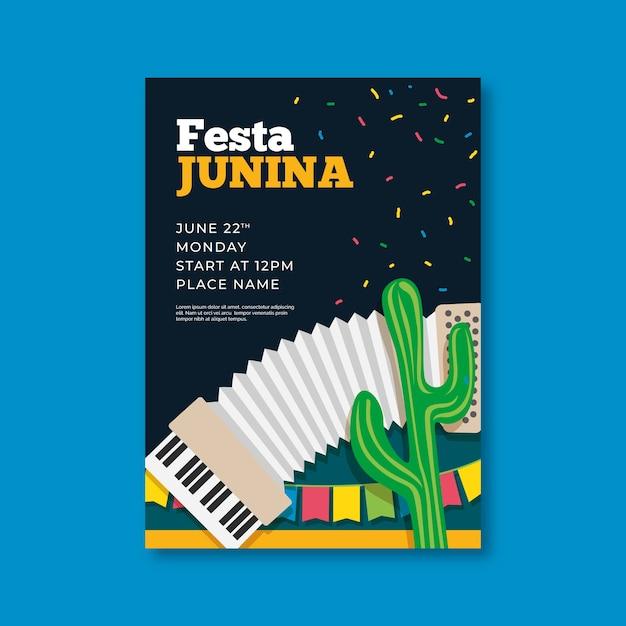 Шаблон флаера festa junina в плоском дизайне Бесплатные векторы