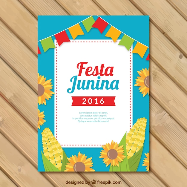 Festa junina flyer template with sunflowers and\ corn