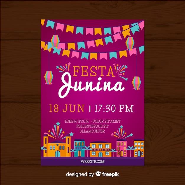 Festa junina flyer template Free Vector