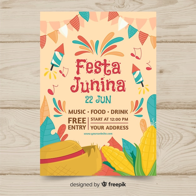 Festa junina flyer template Free Vector