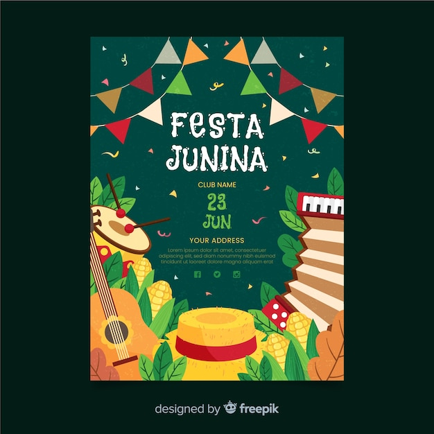 Festa junina flyer Free Vector