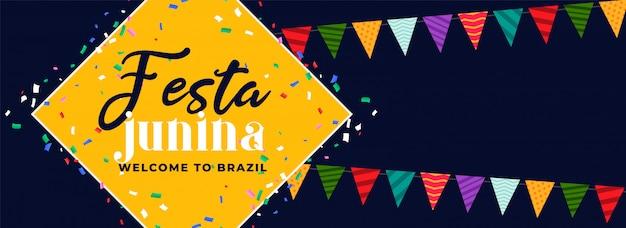 Festa junina fun carnival banner design Free Vector