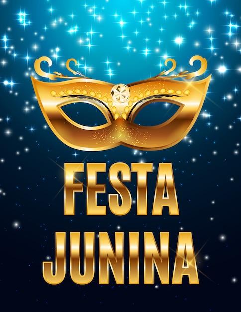 Феста юнина праздник фон. традиционный бразильский июньский фестиваль. праздник середины лета. иллюстрация с лентой и флагами Premium векторы