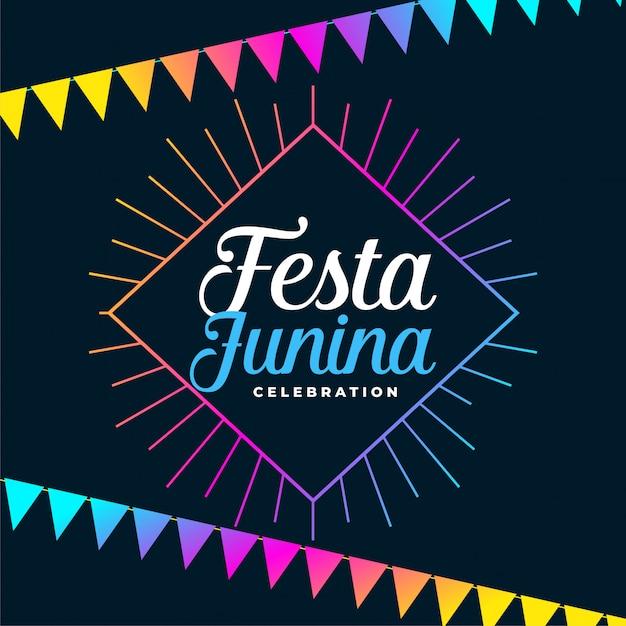 Феста junina праздник фон с красочными гирляндами украшения Бесплатные векторы