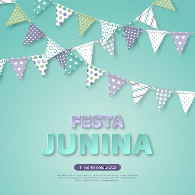 Феста юнина, холидей дизайн. бумага вырезать буквы стиля с флагом овсянка на светло-бирюзовом фоне. шаблон для бразильского или латинского фестиваля, вечеринка Premium векторы