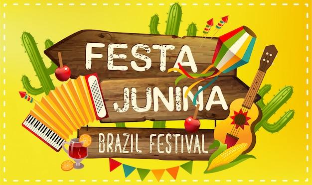 Festa junina illustration traditional brazil june festival party. latin american holiday. Premium Vector
