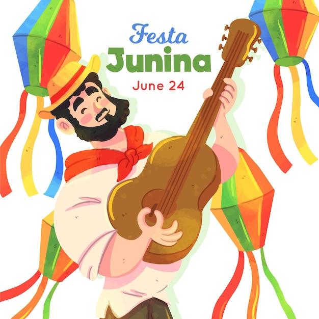 Festa junina illustration with man and guitar Free Vector