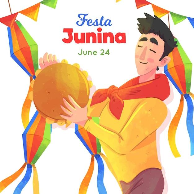 Festa junina illustration with man Premium Vector