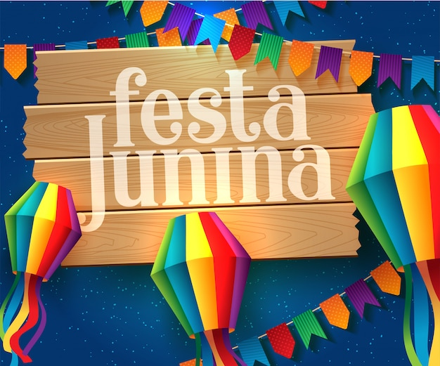 Festa junina illustration with party flags Premium Vector