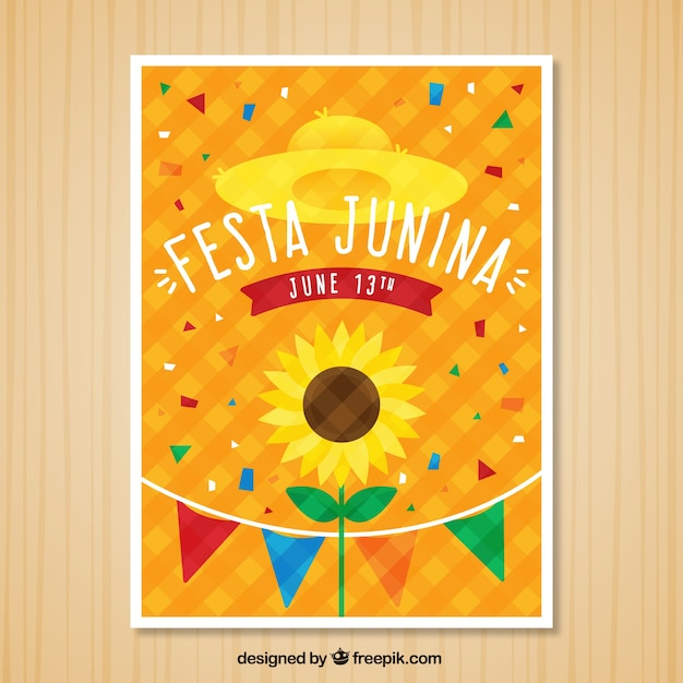 Festa junina invitation with confetti and\ sunflower