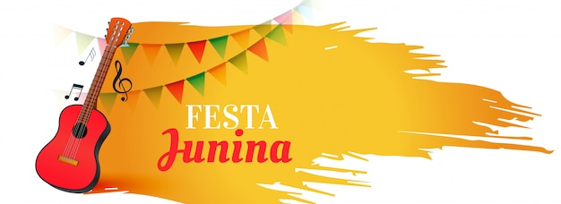 Festa junina music festival banner with guitar Free Vector