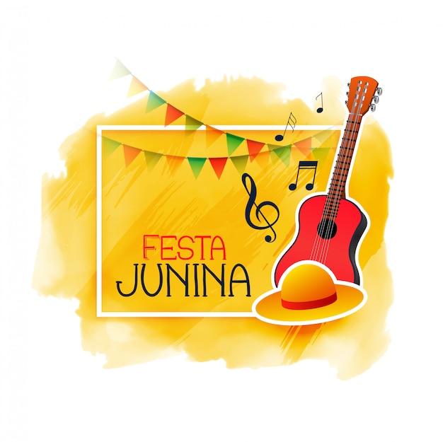 Festa junina music guitar and cap Free Vector