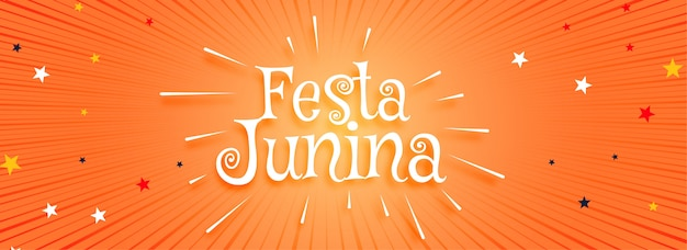 Festa junina orange banner Free Vector