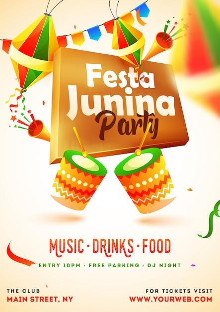 Festa junina party invitation card Premium Vector