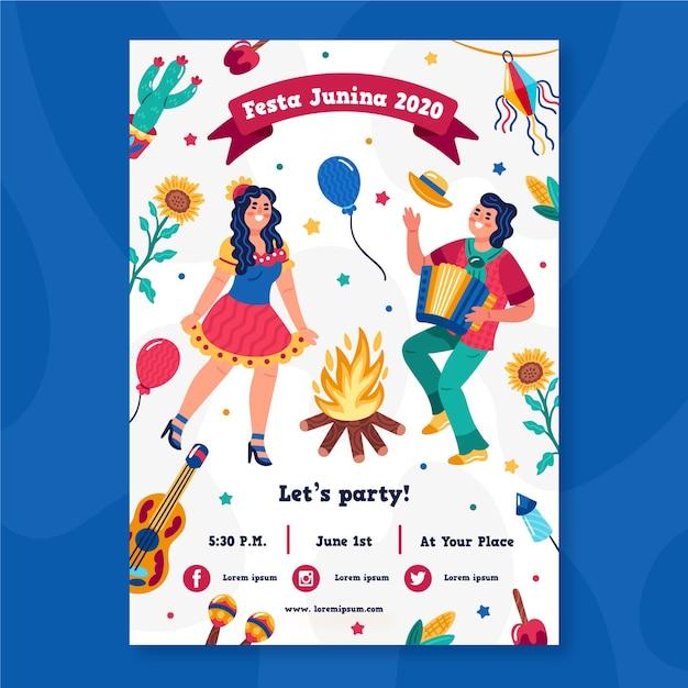 Festa junina poster concept Free Vector