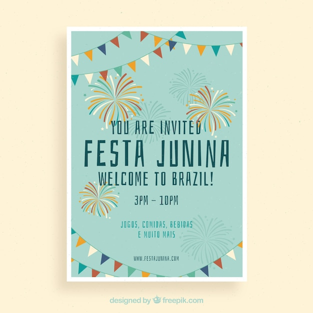 Festa junina poster invitation with colorful fireworks Free Vector