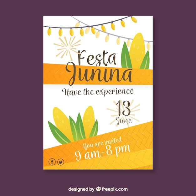 Festa junina poster invitation with corn in flat style Free Vector