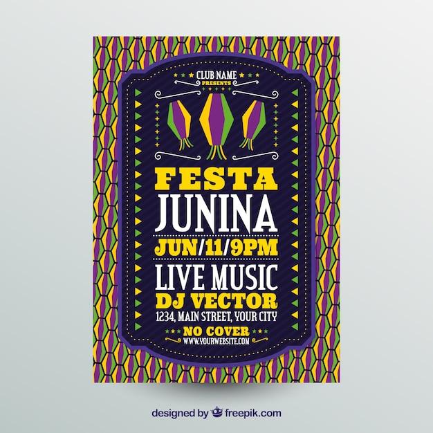 Festa junina poster invitation with flat pattern Free Vector