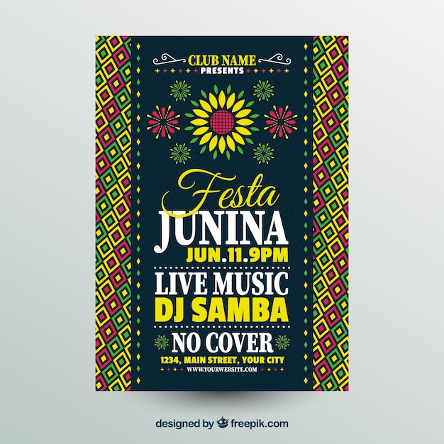 Festa junina poster invitation with pattern and flowers Free Vector